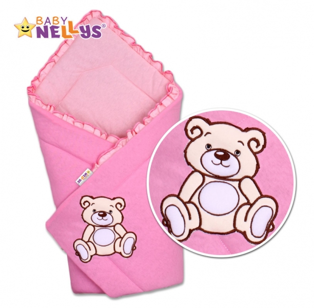 Baby Nellys Zavinovačka Teddy Bear - jersey - růžová