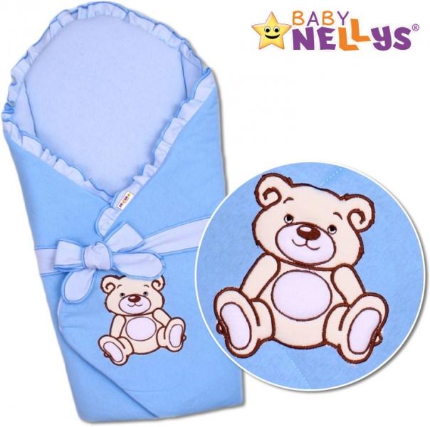Baby Nellys Zavinovačka s výztuží Teddy Bear - jersey - modrá