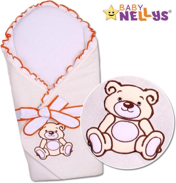 Baby Nellys Zavinovačka s výztuží Teddy Bear - jersey - smetanová