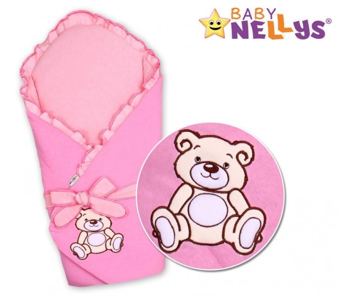 Baby Nellys Zavinovačka s výztuží Teddy Bear - jersey - růžová
