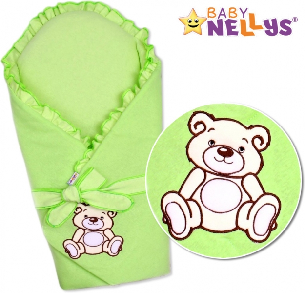 Baby Nellys Zavinovačka s výztuží Teddy Bear -jersey - zelená
