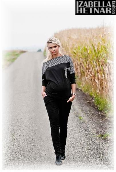 Be MaaMaa Těhotenské kalhoty Kaja  - černével. XS (32-34)