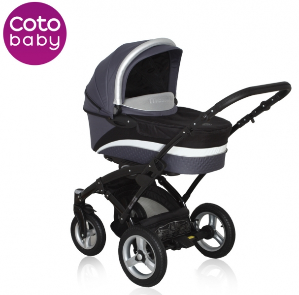 Kočárek Messina Coto Baby 2v1 - grey/black