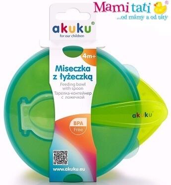 Miska s lžičkou  Akuku 4m+ - zelená s modrou