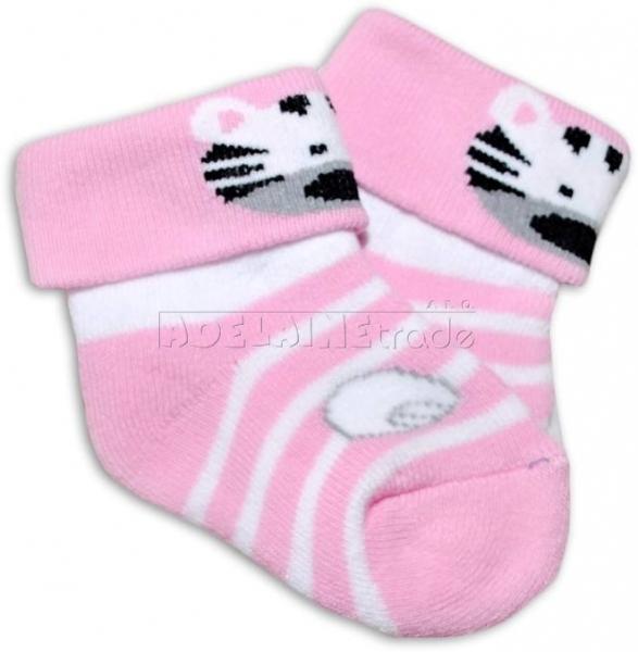 Bavlněné  froté ponožky 0-6m - sv. růžové  s pruhem