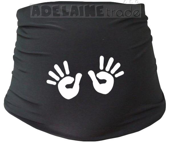 Mamitati Těhotenský pás s ručičkami, vel. L/XL - černý, B19