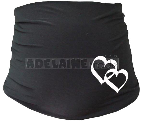 Mamitati Těhotenský pás se srdíčky, vel. L/XL - černý