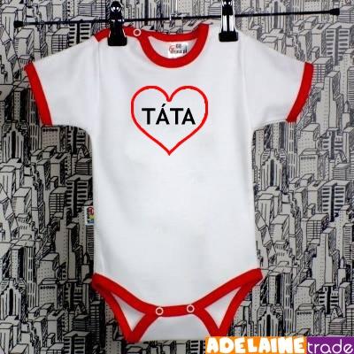 Baby Dejna Body kr. rukáv  SRDÍČKO TÁTA - bílé/červený lem