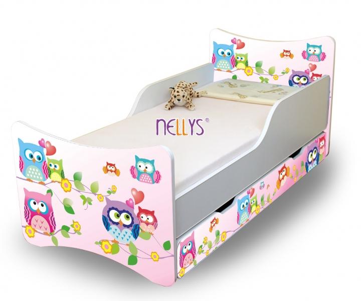 NELLYS Dětská postel se zábranou a šuplík/y Sovičky  - 200x90 cm