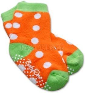 Bavlněné protiskluzové froté ponožky 6-12m - puntík/oranž