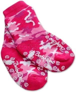 Bavlněné protiskluzové froté ponožky 6-12m - růžové