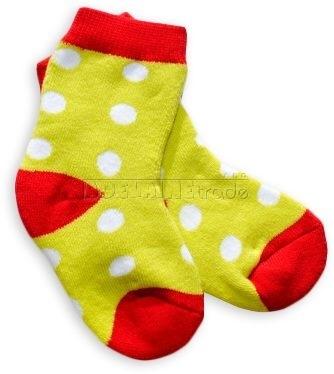 Bavlněné  froté ponožky 6-12m - zelené puntík