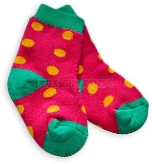 Bavlněné  froté ponožky 6-12m - červené puntík