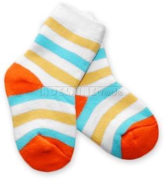 Bavlněné  froté ponožky 6-12m - barevný pruh