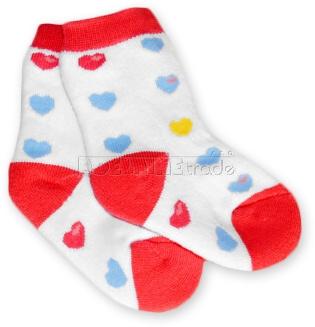 Bavlněné  froté ponožky 6-12m - srdíčka