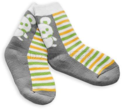 Bavlněné  froté ponožky 12m+ - khaki pruhy