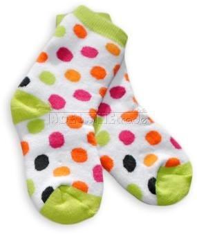 Bavlněné  froté ponožky 12m+ - puntíky zelená patička