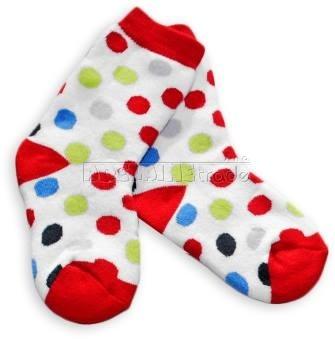 Bavlněné  froté ponožky 12m+ - puntíky červená patička