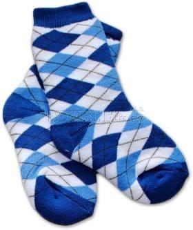 Bavlněné froté ponožky 12m+ - kárko modré - barva: Kárko modré , nr.kat. 583/03, 12m+, BO