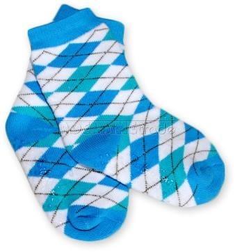 Bavlněné protiskluzové froté ponožky 12m+ - kárko modrozelené - barva: Kárko modrozelené , nr.kat. 584/03, 12m+, BO