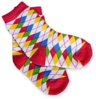 Bavlněné protiskluzové froté ponožky 12m+ - kárko barevné - barva: Kárko barevné - červená patička , nr.kat. 584/03, 12m+, BO