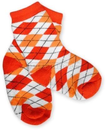 Bavlněné protiskluzové froté ponožky 12m+ - kárko červené/oranž