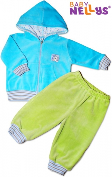 Tepláková soupravička s kapucí - tyrkysová/zelená, Velikost: 56 (1-2m)