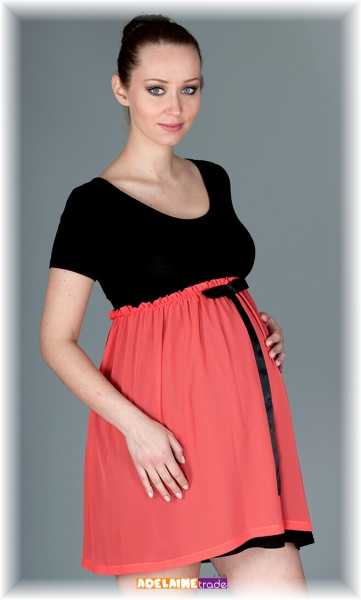 Elegantní těhotenské šaty se stuhou - koral
