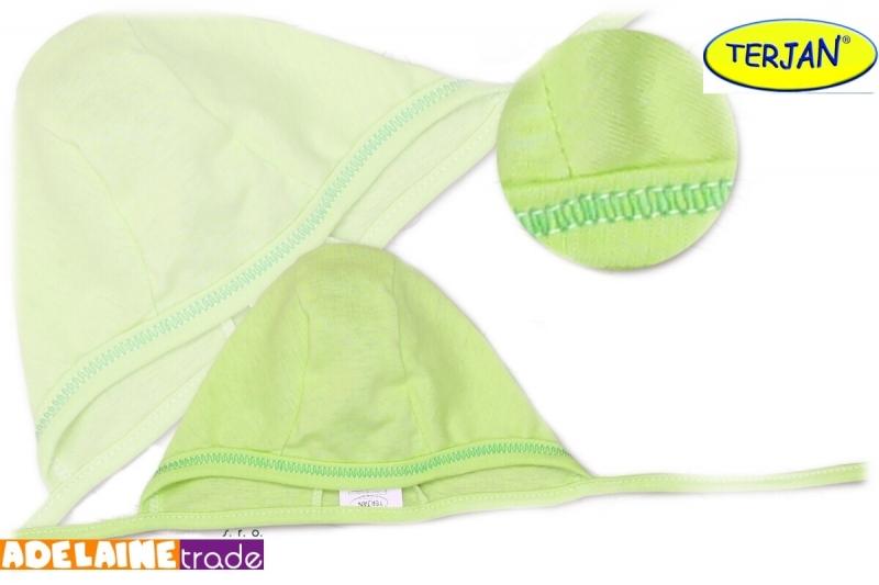 TERJAN Novorozenecká čepička na zavazování - sv. zelená