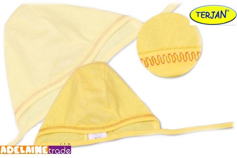 TERJAN Novorozenecká čepička na zavazování - žlutá/krémová, vel. 62