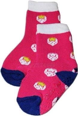 Bavlněné protiskluzové froté ponožky 6-12m - jahůdky v růžové