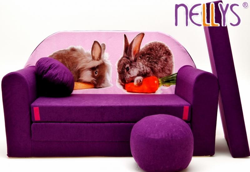 NELLYS Rozkládací dětská pohovka 56R - Zajíčci ve fialové