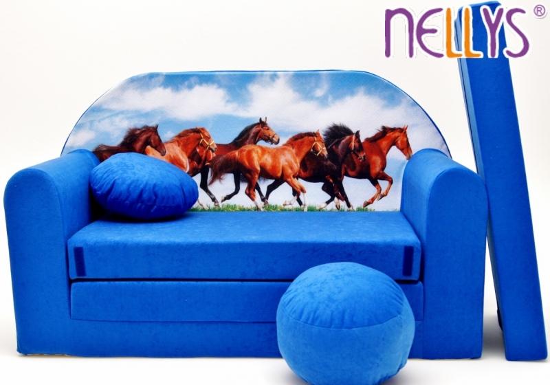 NELLYS Rozkládací dětská pohovka 57R - Koně v modré