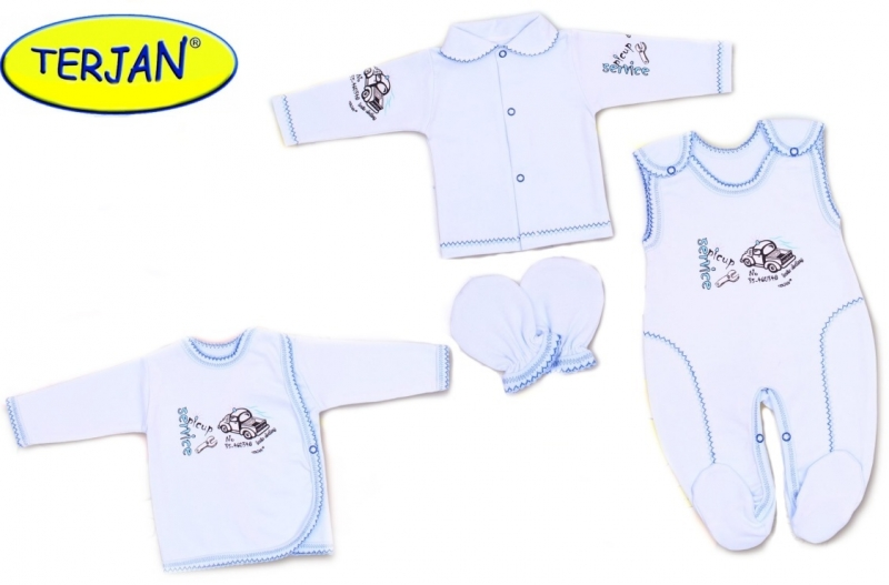 Soupravička do porodnice v krabičce Terjan - Autíčko modré
