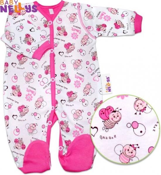 Overálek Baby Nellys ®- Beruška - sytě růžový lem