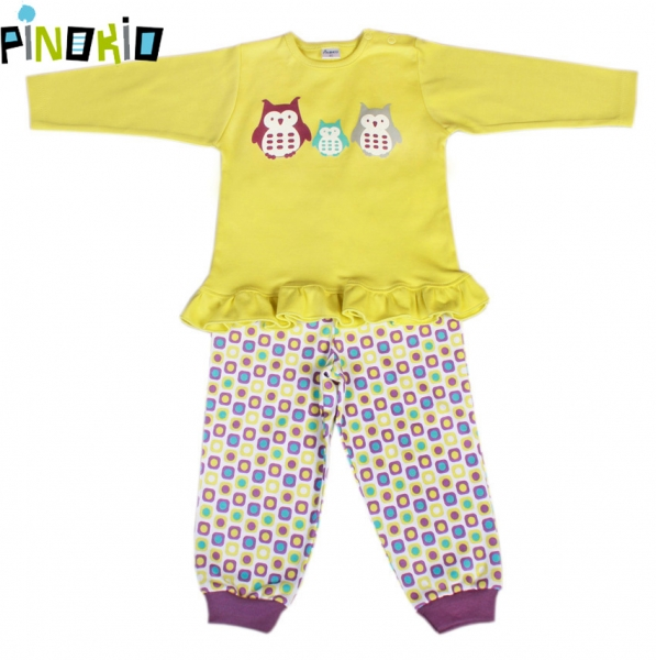 Pyžamko PINOKIO - žlutá/kostička nebo proužek, Velikost: 80 (9-12m)