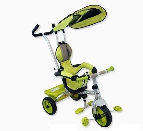 BABY MIX Tříkolka s pásy a vodící tyči - zelená