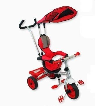 BABY MIX Tříkolka s pásy a vodící tyči - červená