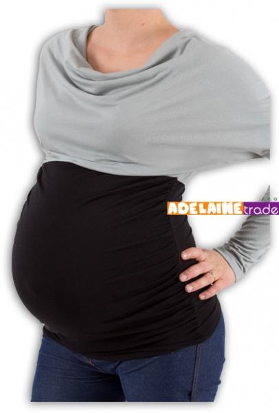 Be MaaMaa Těhotenská tunika VODA DUO - šedo-černý, Velikost: S/M