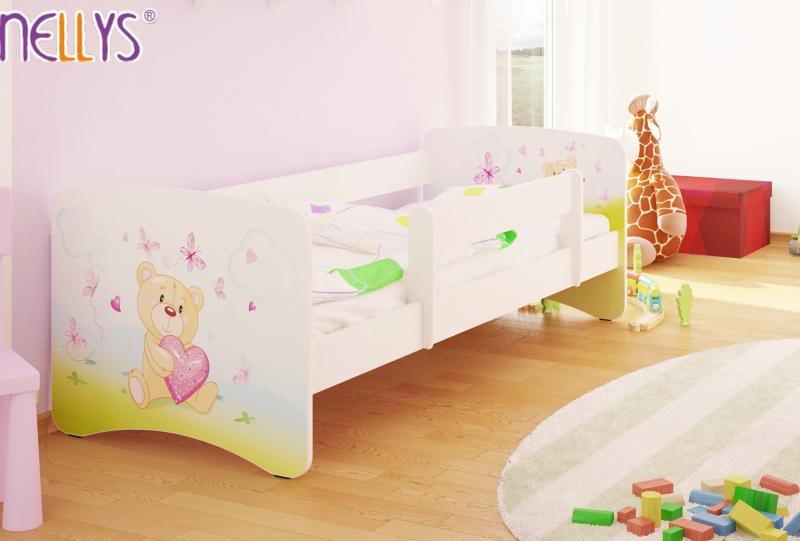 NELLYS Dětská postel s bariérkou Nico - Míša srdíčko/bílá - 160x80 cm, Velikost: 160x80