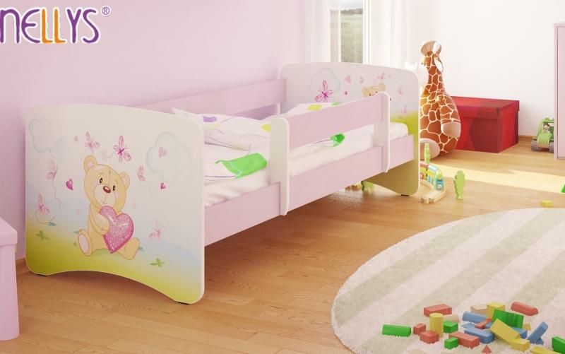 Dětská postel s bariérkou Nico - Míša srdíčko/sv.růžová - 180x90 cm