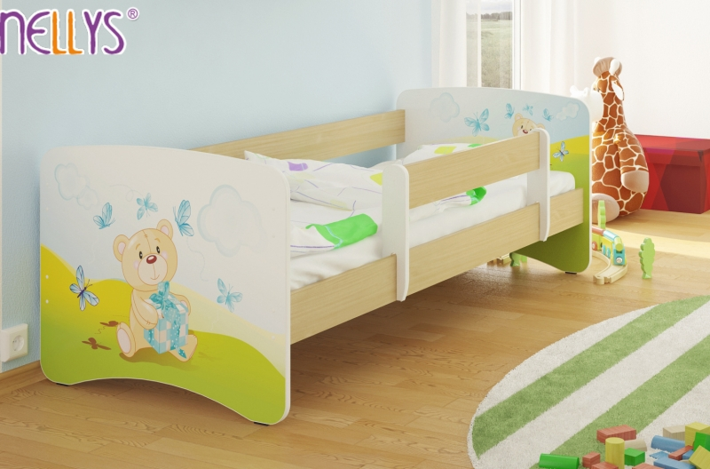 Dětská postel Nellys ® - Míša dáreček/sv.hnědá - 180x90 cm