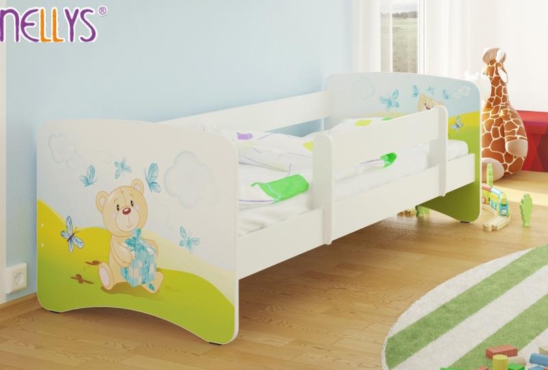 NELLYS Dětská postel s bariérkou Nico - Míša dáreček/bílá - 160x80 cm