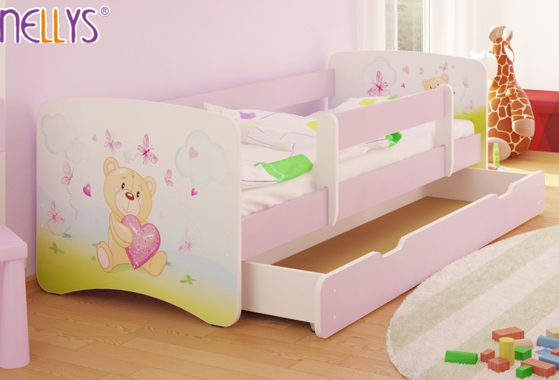 Dětská postel s bariérkou a šuplíkem/ky Nico - Míša srdíčko/sv. růžové, 160x90 cm