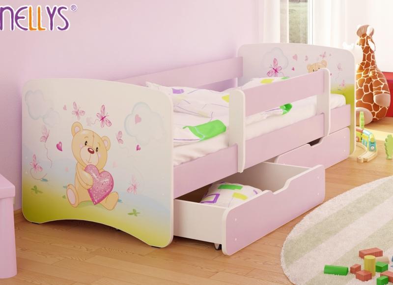 Dětská postel s bariérkou a šuplíkem/ky Nico - Míša srdíčko/sv. růžové,180x90 cm
