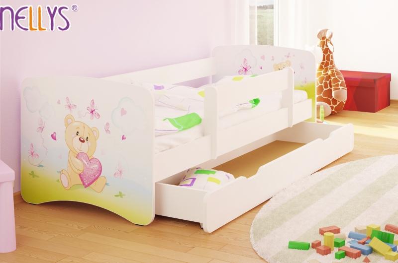 NELLYS Dětská postel s bariérkou a šuplíkem/ky Nico - Míša srdíčko/bílé