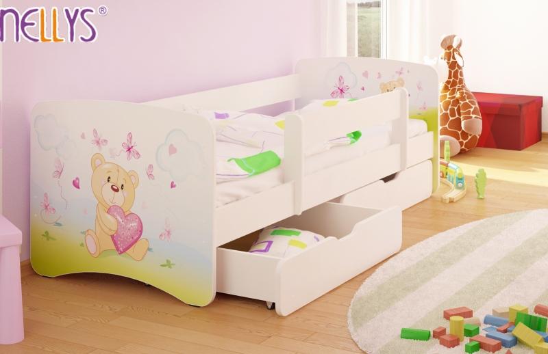 NELLYS Dětská postel s bariérkou a šuplíkem/ky Nico - Míša srdíčko/bílé, 180x90 cm