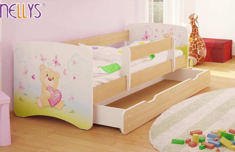 Dětská postel s bariérkou a šuplíkem/ky Nico - Míša srdíčko/sv. hnědá, 160x90 cm