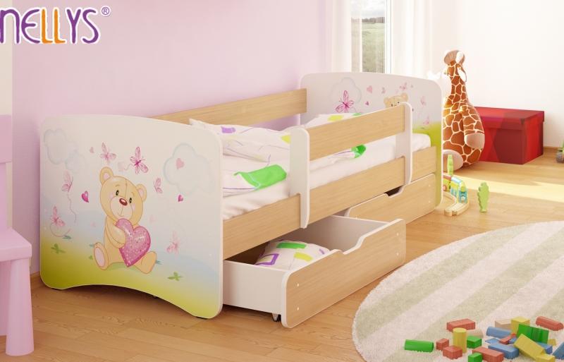 Dětská postel s bariérkou a šuplíkem/ky Nico - Míša srdíčko/sv. hnědá, 180x90 cm