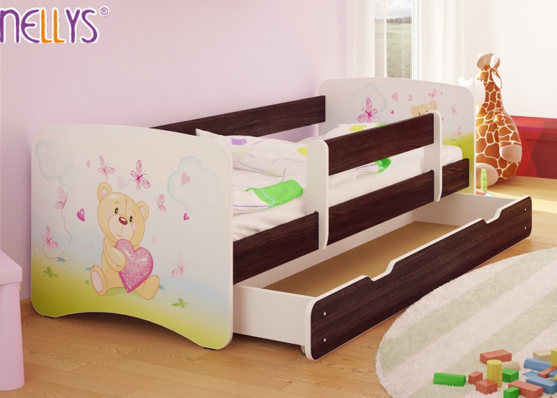 Dětská postel s bariérkou a šuplíkem/ky Nico - Míša srdíčko/tm. hnědá, 160x80 cm